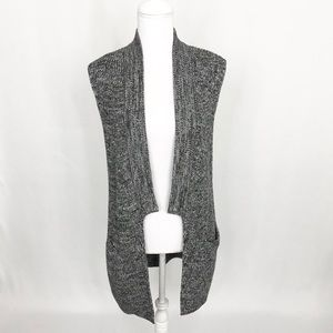 Banana Republic tweed duster long open vest sweate